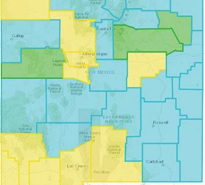 20 of 33 NM counties Turquoise; Sandoval remains Yellow